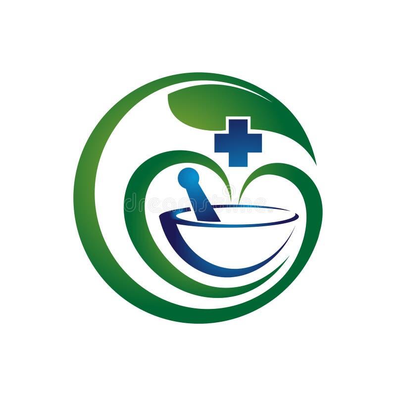 Logo sano naturale della medicina di erbe della foglia verde illustrazione di stock