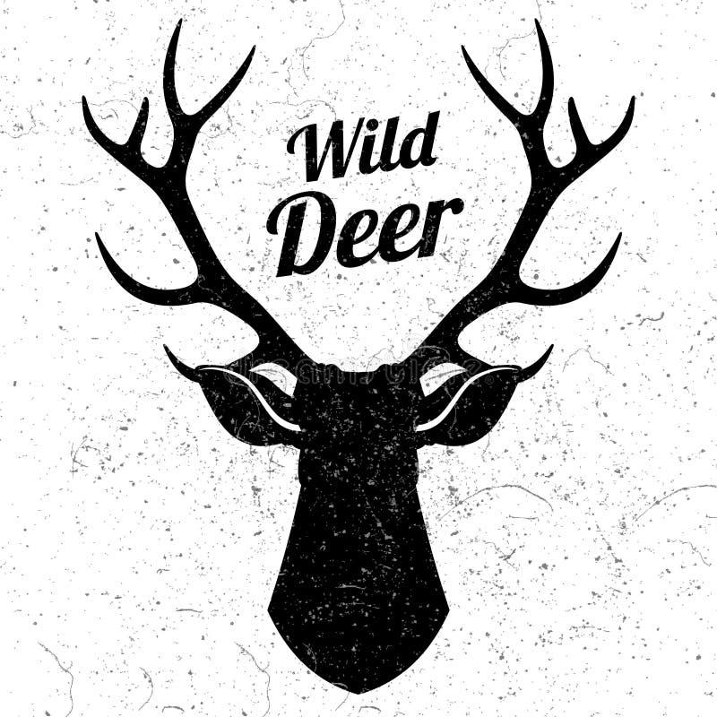 Logo sauvage de cerfs communs avec l'effet grunge illustration stock