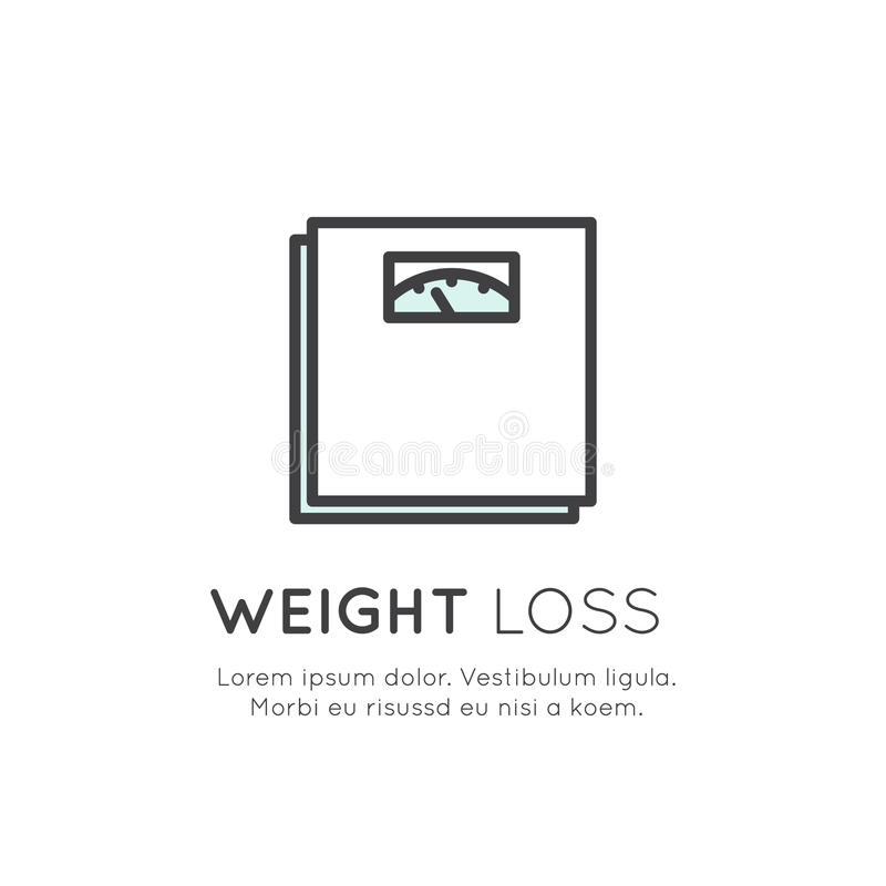 Logo of Scales, Weight Loss, Healthy Lifestyle Diet Concept. Vector Icon Style Illustration Concept Logo of Scales, Weight Loss, Healthy Lifestyle Diet Concept royalty free illustration