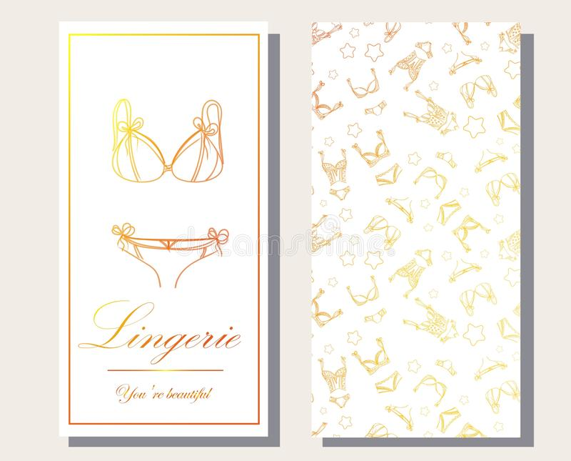 Logo and seamless pattern for Fashionable women`s lingerie collection,  illustration sketch. BRAND STYLE of women`s lace vector illustration