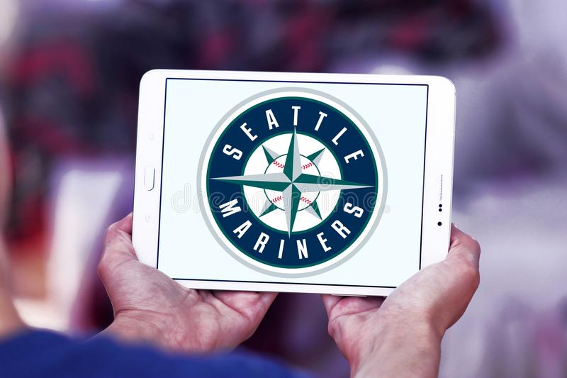 Seattle Mariners baseball Club logo. Logo of Seattle Mariners baseball Club on samsung tablet. The Seattle Mariners are an American professional baseball team stock photos