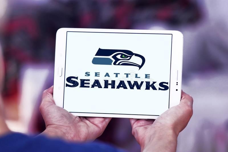 Seattle Seahawks american football team logo. Logo of Seattle Seahawks american football team on samsung tablet. The Seattle Seahawks are a professional American royalty free stock images