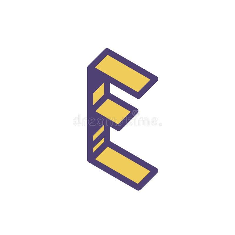 Logo, segno della lettera E Vettore Lineare, icona del profilo Isometry, 3D Lettera piana capitale colorata Società di marca Il s illustrazione di stock