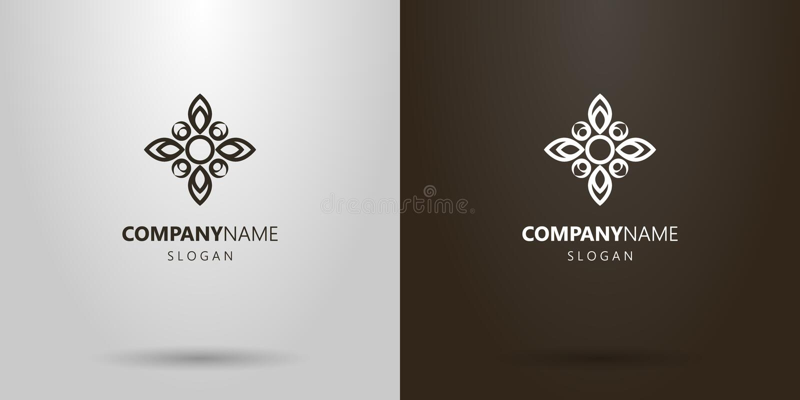 Logo semplice del fiore dell'estratto di vettore con quattro petali sotto forma di incrocio royalty illustrazione gratis