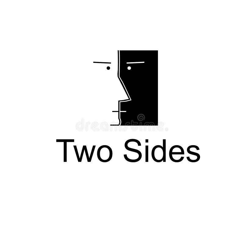 Logo semplice del fronte con l'angolo due Logo in bianco e nero royalty illustrazione gratis