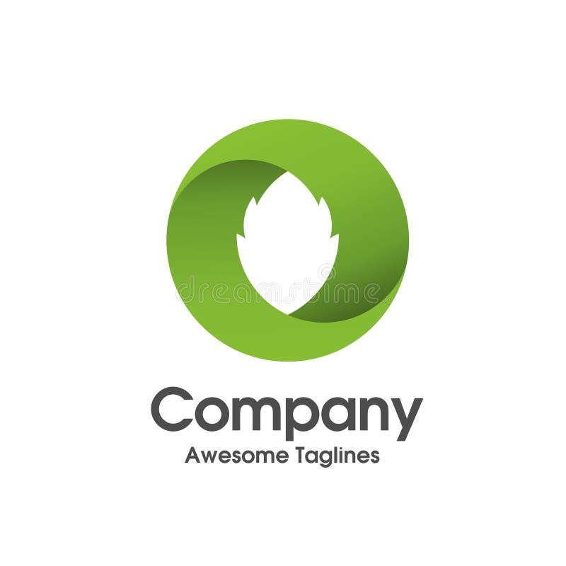 Logo semplice della foglia di verde dell'innovazione del cerchio illustrazione di stock
