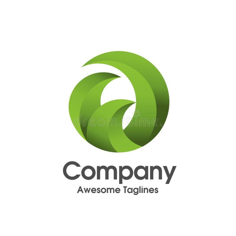 Logo semplice di ecologia della foglia di verde dell'innovazione del cerchio illustrazione vettoriale