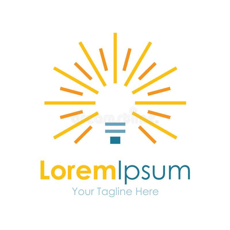 Logo semplice Shinning dell'icona di affari della lampadina della luce intensa illustrazione di stock