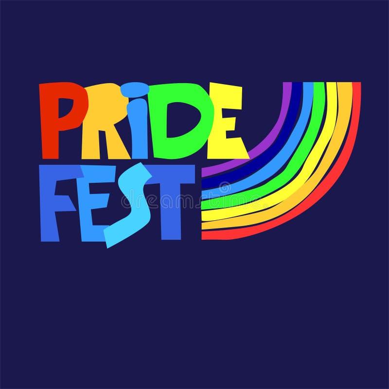 Logo sessuale di celebrazioni di diversità Iscrizione della mano nei colori dell'arcobaleno con il segno dell'arcobaleno Le minor royalty illustrazione gratis