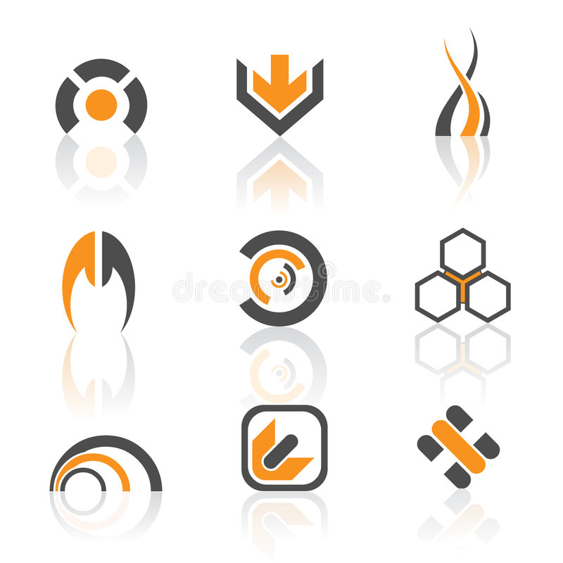 Logo set. Modern colorful logo collection - grey and orange