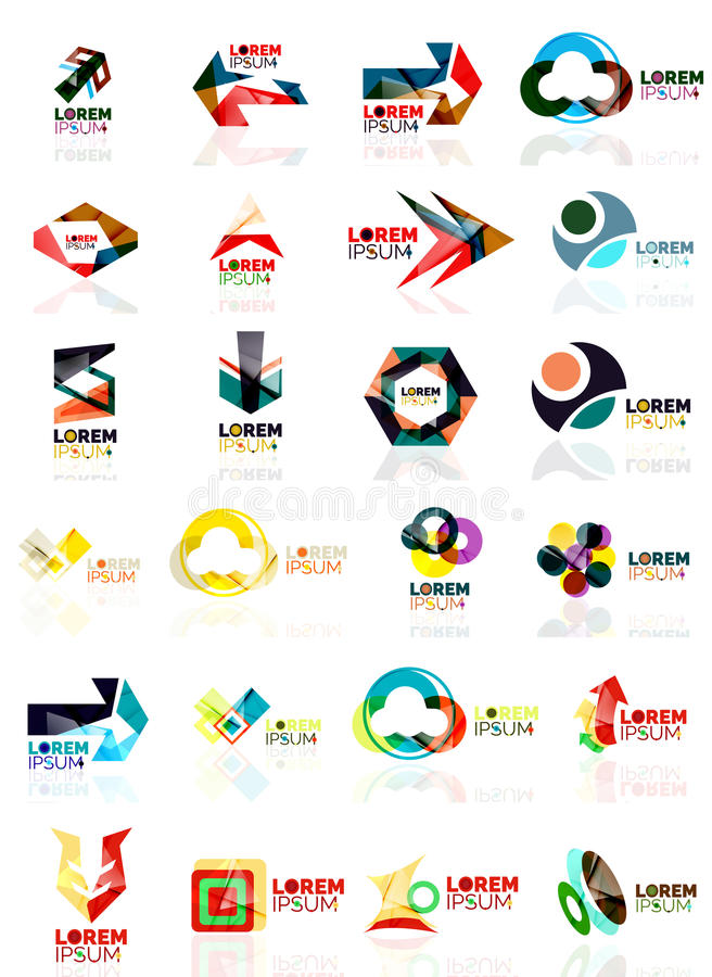 Logo Set Abstract Geometric Business Icons Paper Style With Glossy