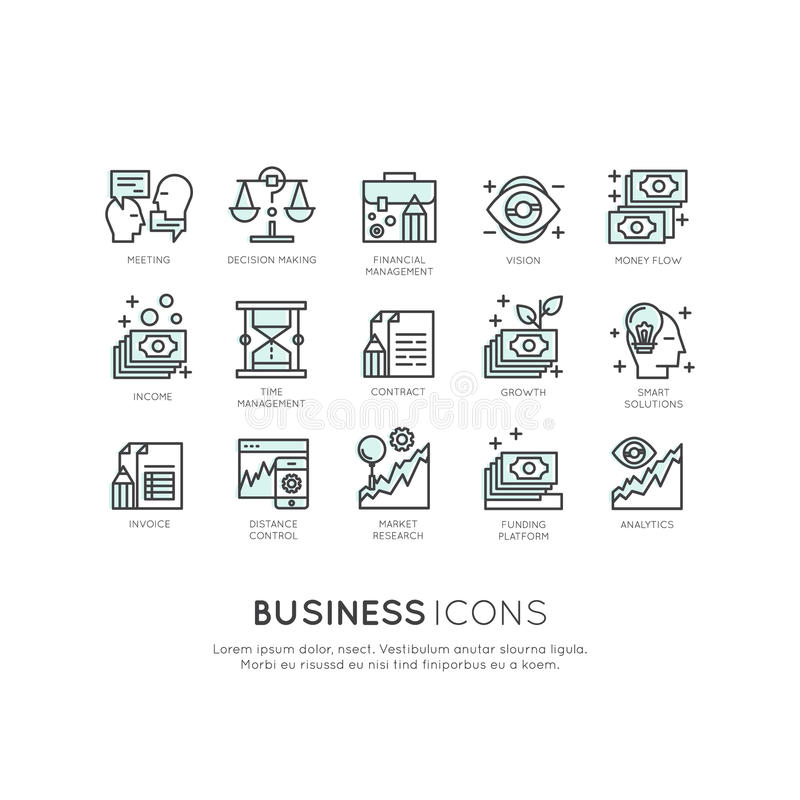 Logo Set of Analytics, Monitoring and Management Business model and Strategy stock illustration
