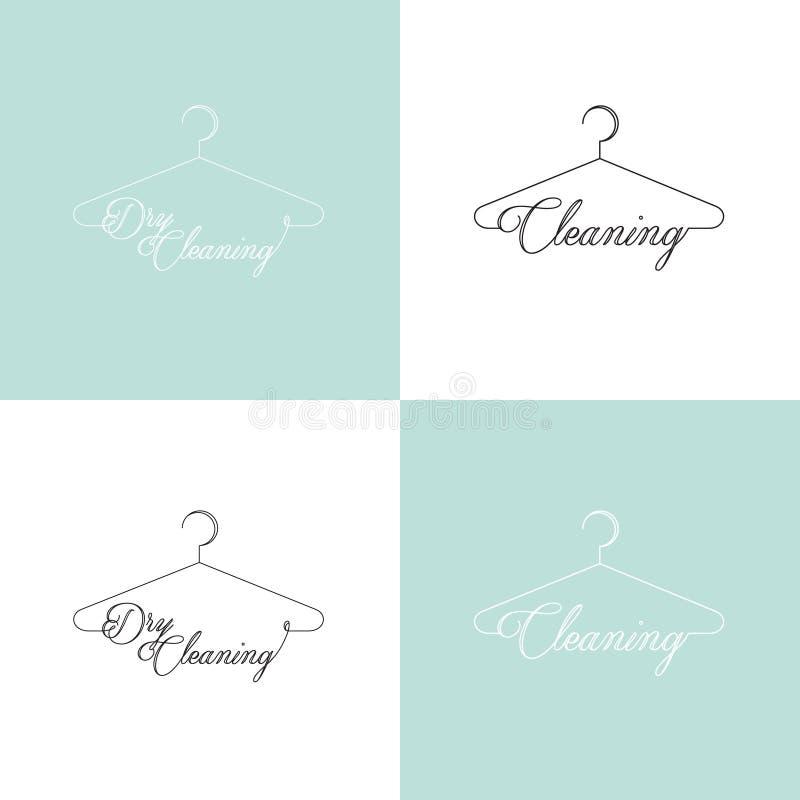 Logo Set av kemtvätt och tvätteriserviceföretaget vektor illustrationer