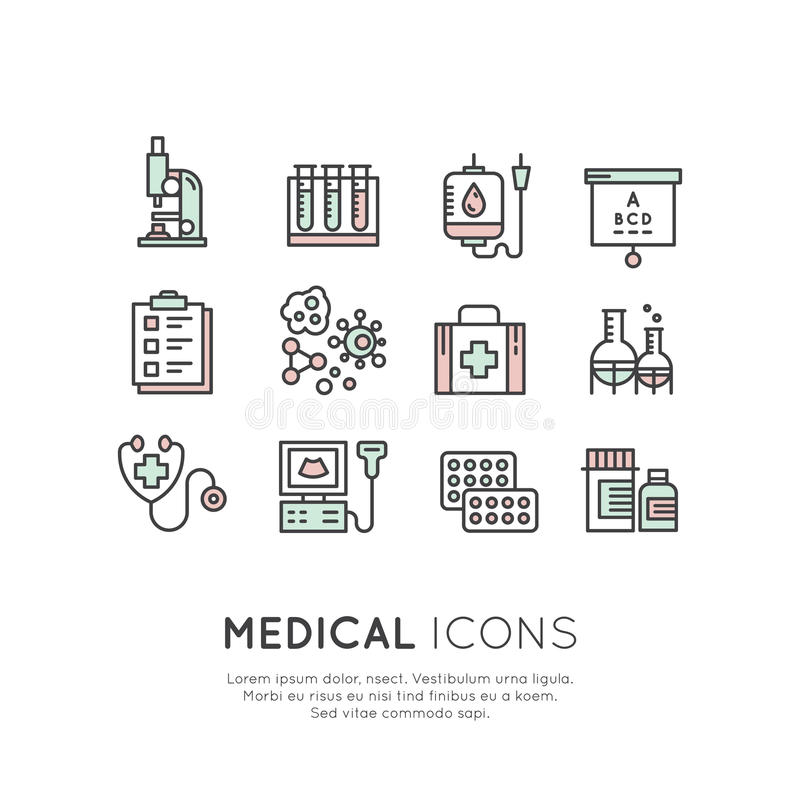 Logo Set av medicinska diagnostiska symboler och objekt vektor illustrationer