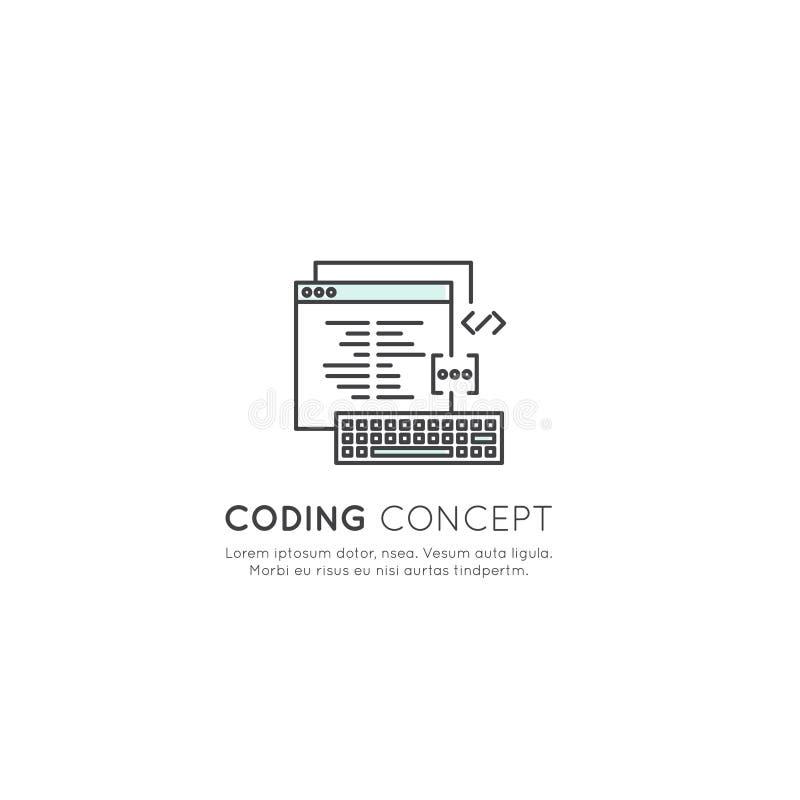 Logo Set av programmet som kodifierar App för mobilen och rengöringsduken, SEO, Optimization, IT-utvecklingsprocess stock illustrationer