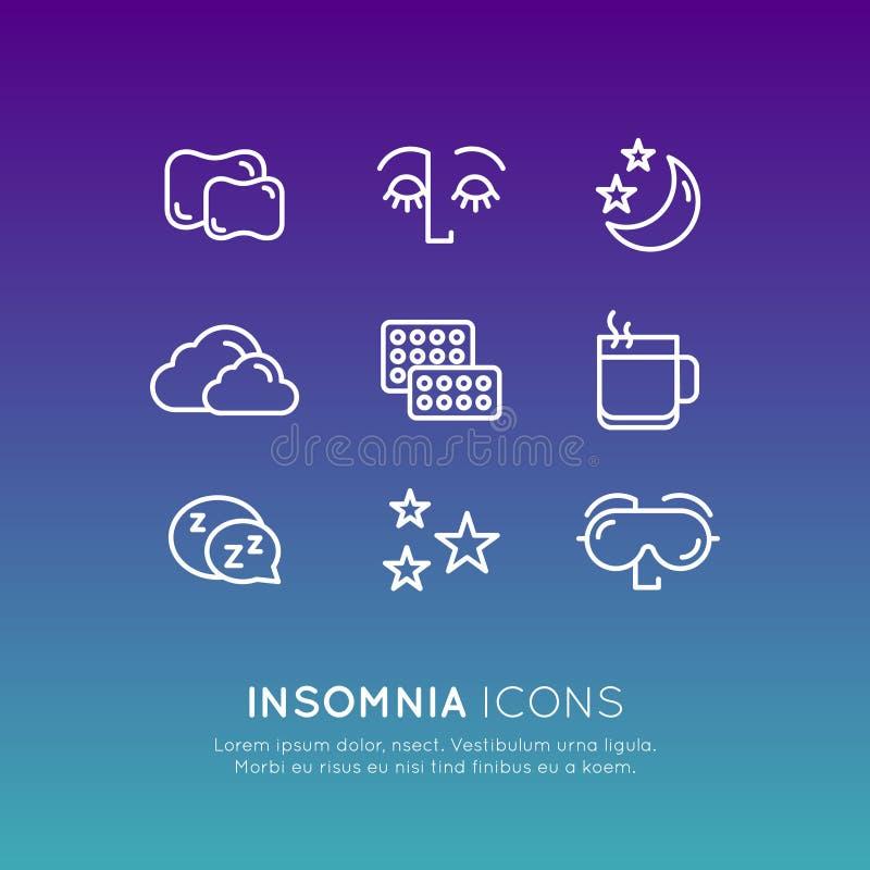 Logo Set Badge con los problemas e iconos del insomnio, tratamiento y píldoras, persona durmiente del sueño con la máscara ilustración del vector