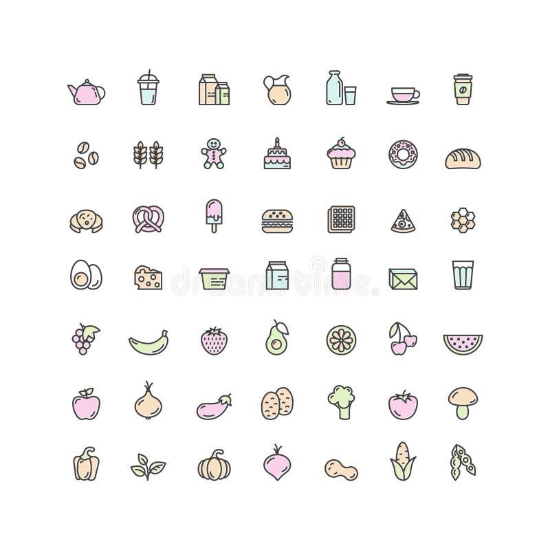 Logo Set Badge de frutas, verduras, alimentos de preparación rápida y bebida, pan, diario y productos lácteos Granja y símbolos o stock de ilustración