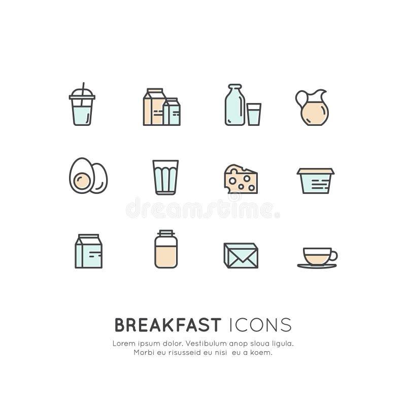 Logo Set Badge della bevanda della prima colazione di mattina, delle uova, del formaggio, del diario e dei prodotti lattiero-case illustrazione vettoriale