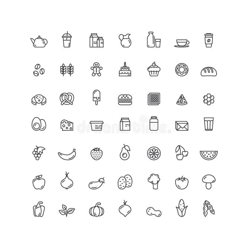 Logo Set Badge dos frutos, dos vegetais, do fast food e dos produtos da bebida, do pão, do diário e de leite Exploração agrícola  ilustração royalty free