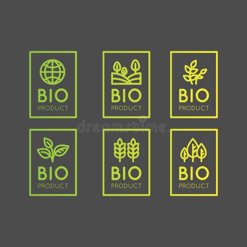 Logo Set Badge Fresh Organic Eco produkt, Bio ingrediensetikettemblem med bladet, jord stock illustrationer