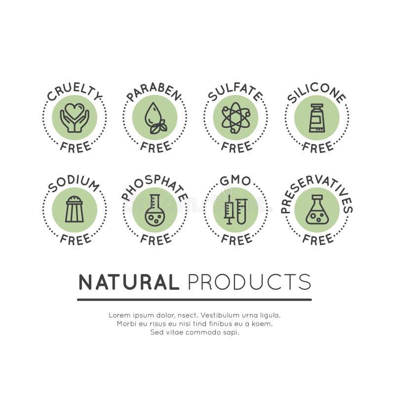 Logo Set Badge Ingredient Warning-Aufkleber-Ikonen vektor abbildung