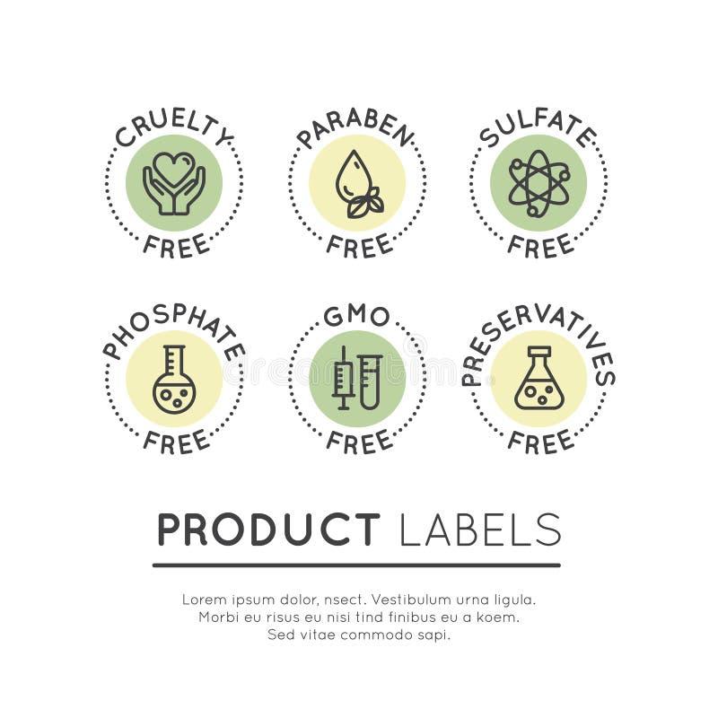 Logo Set Badge Ingredient Warning etikettsymboler vektor illustrationer