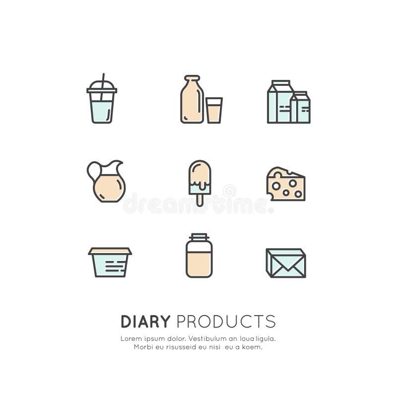 Logo Set Badge Lactose, diário, produtos de leite Exploração agrícola e símbolos orgânicos ilustração royalty free