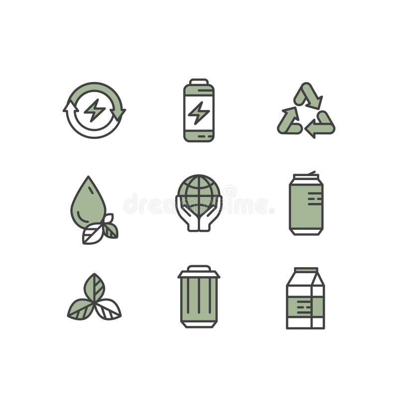 Logo Set Badge mit der Wiederverwertung und überschüssigem Konzept vektor abbildung
