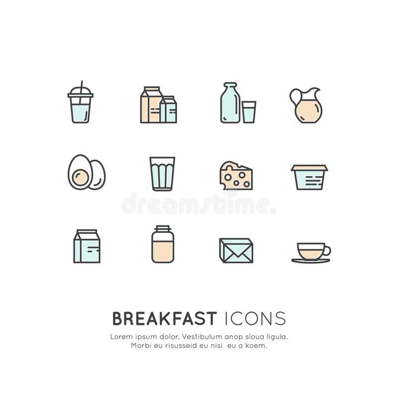 Logo Set Badge of Morning Breakfast Hot Drink, Eggs, Cheese, Diary and Milk Products. Farm and Organic symbols vector illustration