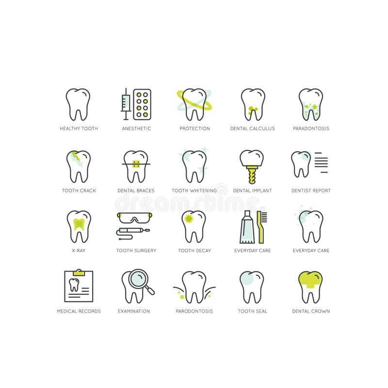 Logo Set Badge o cuidado y enfermedad dental, concepto del tratamiento, ortodoncia de la curación del diente y cirugía ilustración del vector