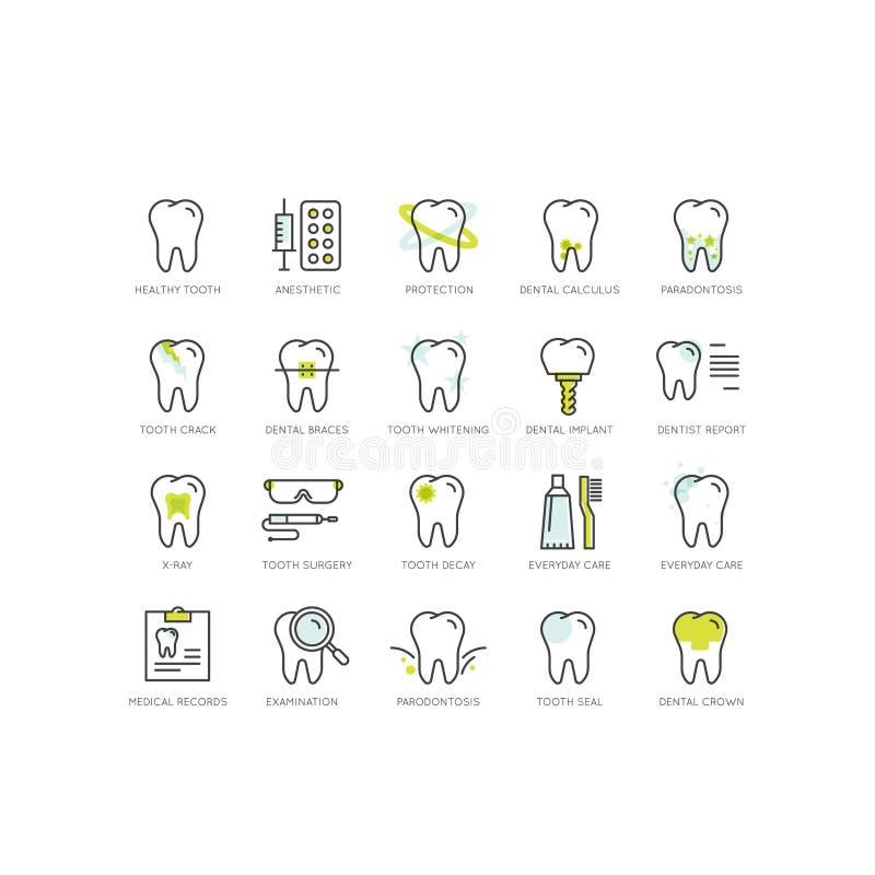 Logo Set Badge ou cuidados dentários e doença, conceito do tratamento, ortodontia da cura do dente e cirurgia ilustração do vetor