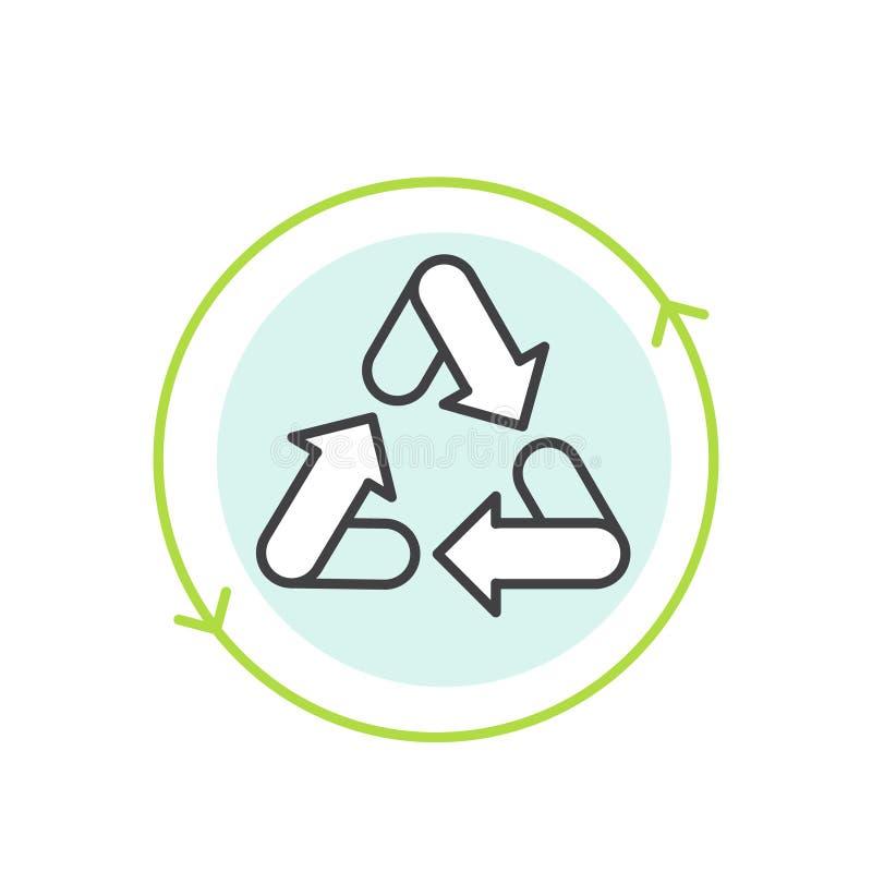 Logo Set Badge Recycling Ecological begrepp, Bio energi, inget förlorat emblem stock illustrationer