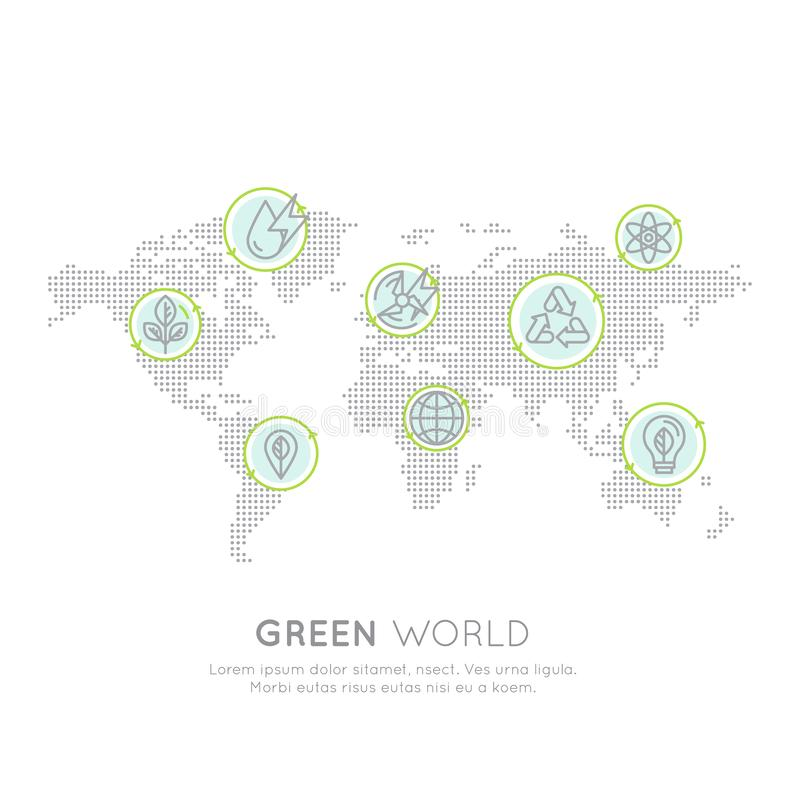 Logo Set Badge Recycling Ecological-Konzept Eine Seiten-Website-Schablonen-Fahne mit globaler Karte, Infographic-Plakat lizenzfreie abbildung