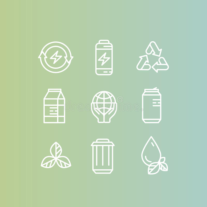 Logo Set Badge with Recycling and Waste Concept, Renew Energy Ecological Stamps stock illustration