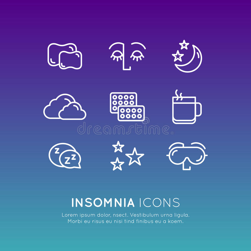 Logo Set Badge with Sleep problems and insomnia icons, treatment and pills, sleeping person with mask. Isolated Vector Style Illustration Logo Set Badge with vector illustration