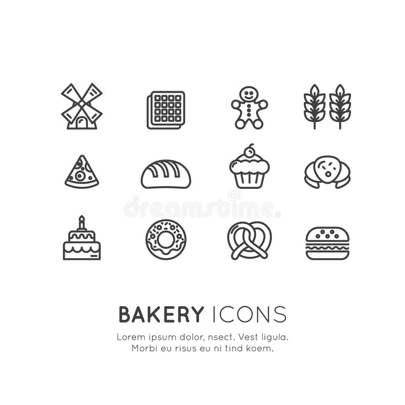 Logo Set of Bakery Sweet Shop, Custom Cake Production, Bread Factory, Pretzel and Waffle, Donut, Cookie. Vector Icon Style Illustration Logo Set of Bakery Sweet vector illustration