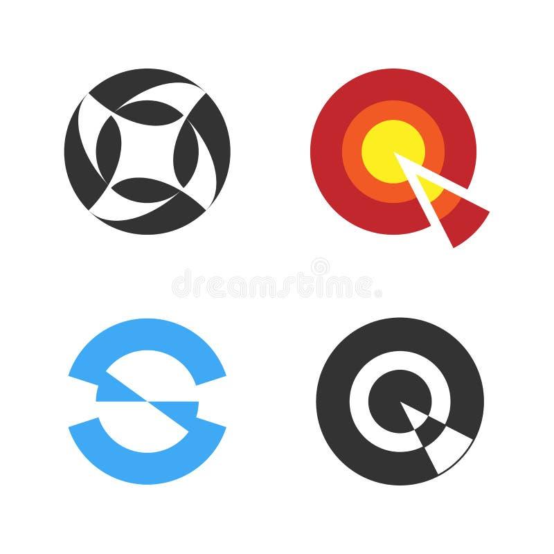 Logo Set circular Logotipo negativo del estilo del espacio Vector ilustración del vector