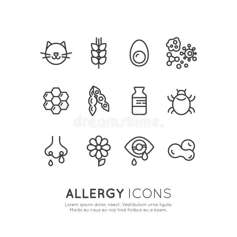 Logo Set Collection av allergin, mat och den älsklings- intolerans-, hudreaktions-, ögon- och nässjukdomen för hemhjälp royaltyfri illustrationer