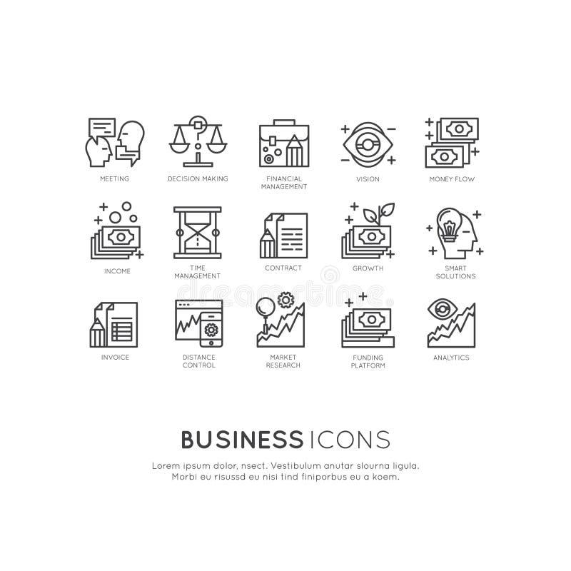 Logo Set da analítica, a monitoração e o modelo comercial e a estratégia da gestão ilustração royalty free
