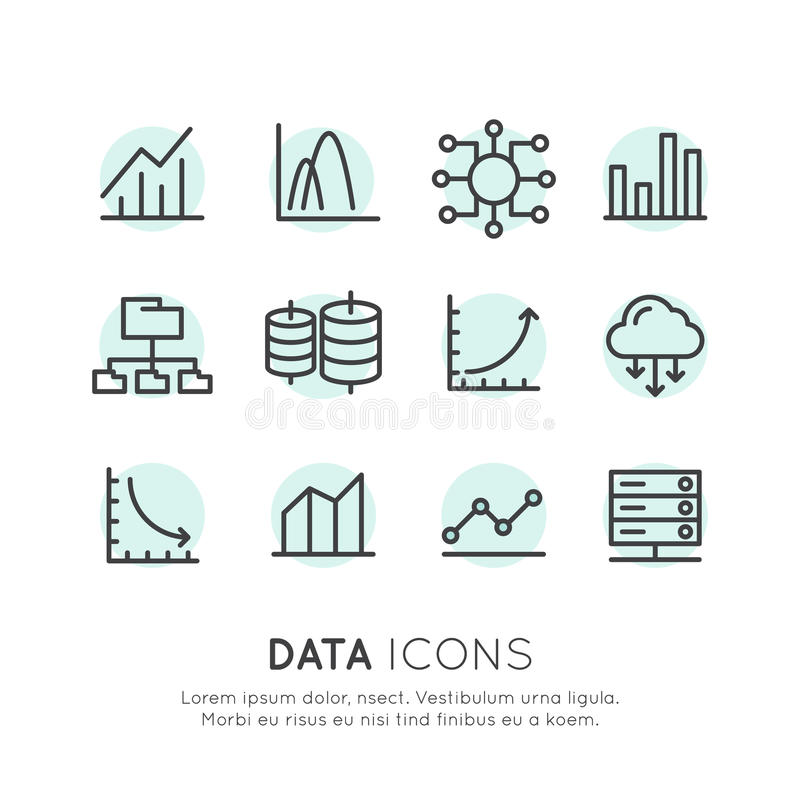 Logo Set degli elementi semplici isolati con informazioni di analisi dei dati della base di dati illustrazione vettoriale