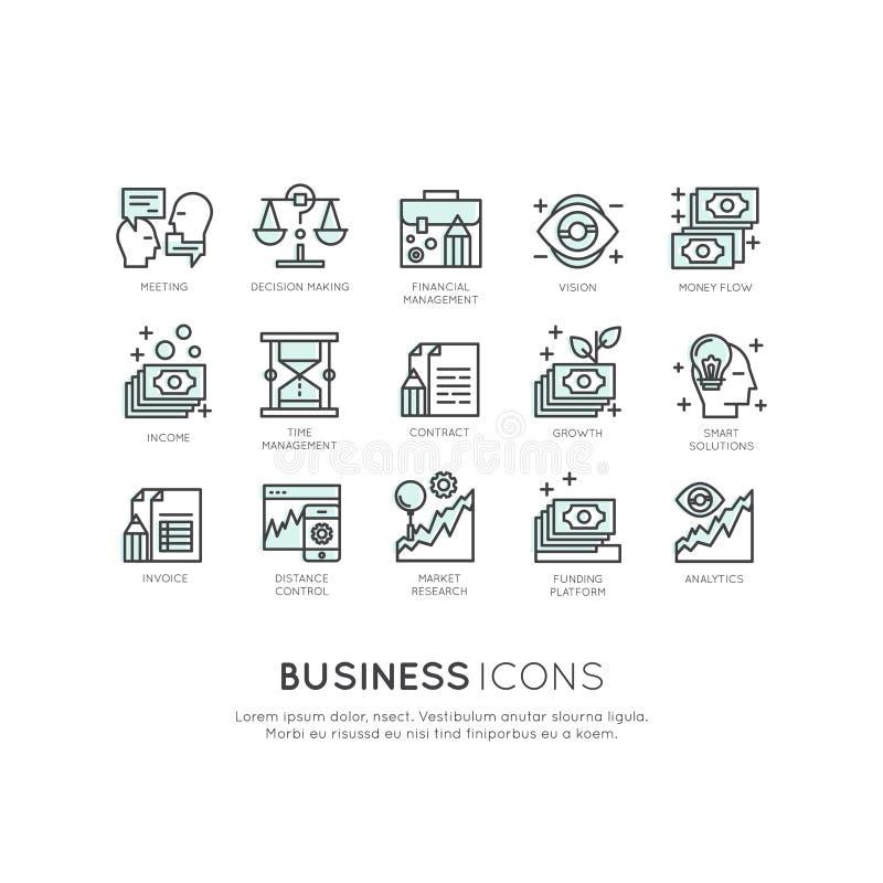Logo Set del Analytics, supervisión y modelo comercial y estrategia de la gestión stock de ilustración