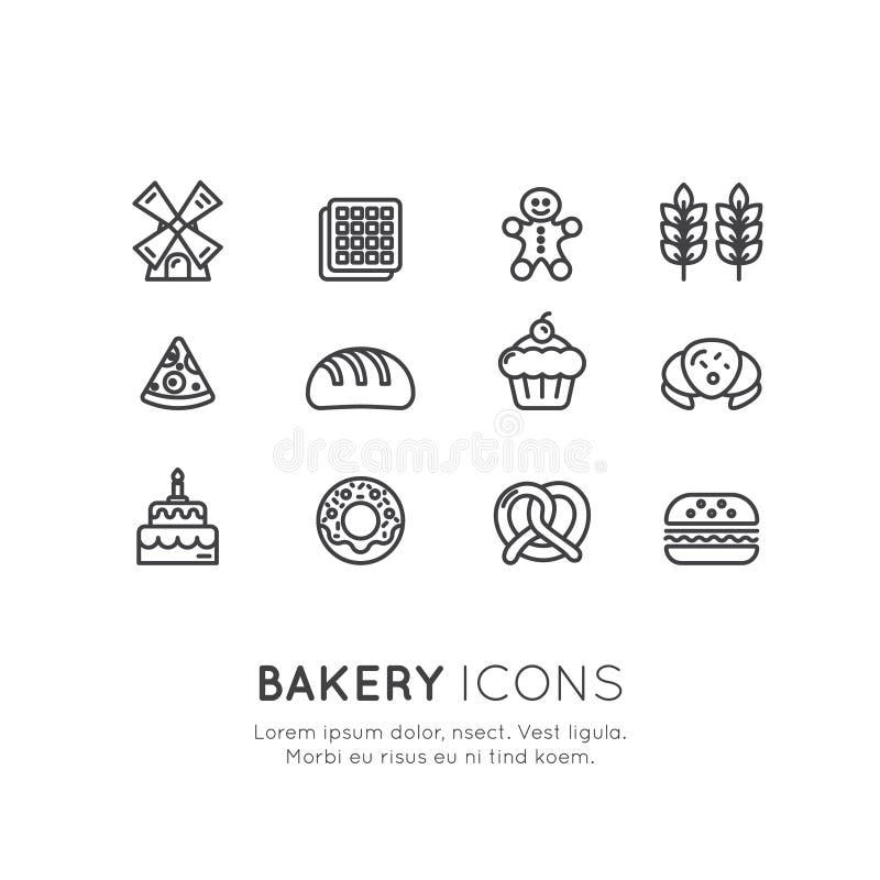 Logo Set des Bäckerei-Süßwarengeschäfts, der kundenspezifischen Kuchen-Produktion, der Brot-Fabrik, der Brezel und der Waffel, Do vektor abbildung