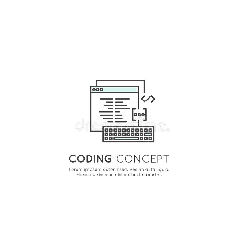 Logo Set do programa que codifica o App para o móbil e a Web, SEO, otimização, processo de desenvolvimento da TI ilustração stock