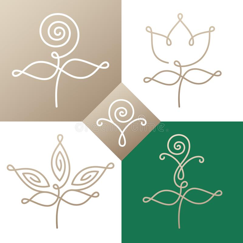 Logo set linear flower two. Set of logo elements - abstract flowers and plants. Floral icons. Emblems for design of natural products, cosmetics, flower shop, spa royalty free illustration