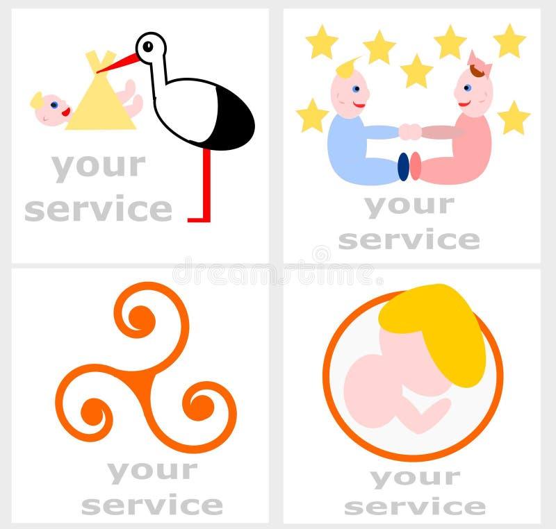 Logo Set per un'ostetrica Service illustrazione vettoriale
