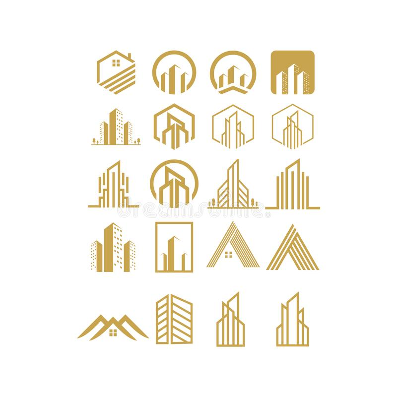 Logo set real estate design,vector,illustration. Ready to use royalty free illustration