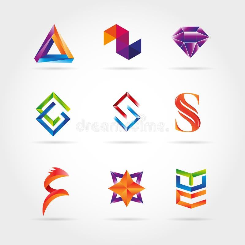 Logo Set Sign Symbol Icon colorido abstrato ilustração royalty free
