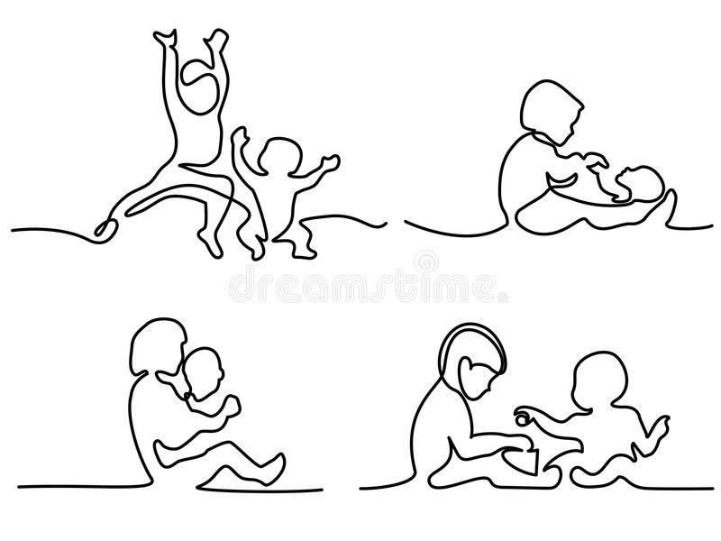 Logo set. toddler playing with baby. Continuous line drawing. Logo set. toddler playing with baby. Vector illustration royalty free illustration