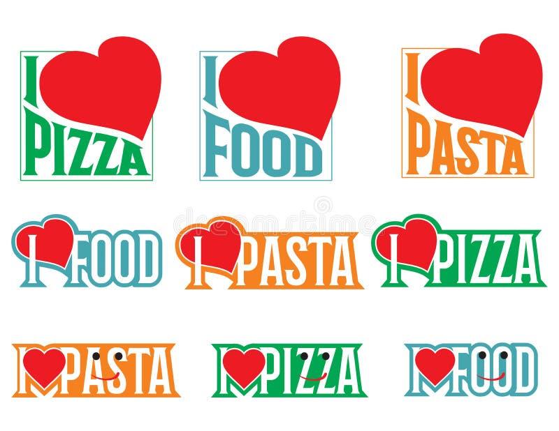Logo Set Vectors inscriptions Eu amo o alimento ilustração royalty free