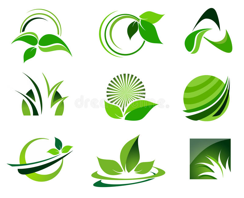 Logo Set vert illustration libre de droits